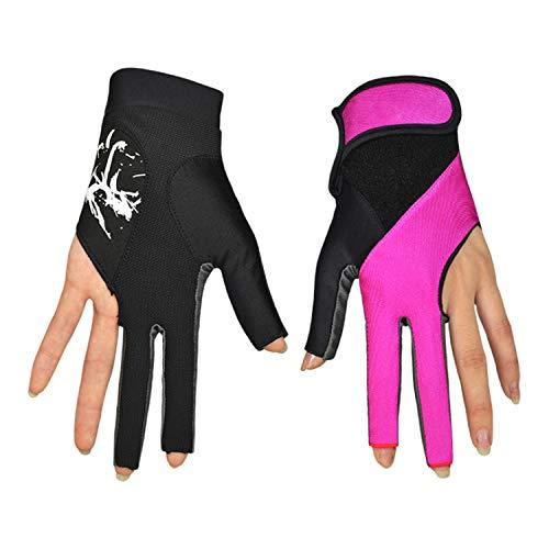 Ywlanlantrading Handschuh Frauen Lycra 3 Finger Billardhandschuhe Pool Queuehandschuhe Showhandschuhe für Billardschützen (Paar) (Color : Purple, Size : M)