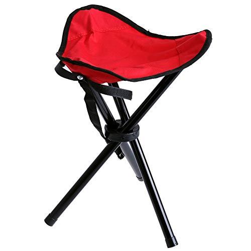 HZMM Klapphocker im Freien Vim im Freien beweglichen Leichten Camping Wandern Angeln Folding Picknick Garten Grill Hocker Stativ DREI Füße Stuhl Stativ Sitz (Color : Red)