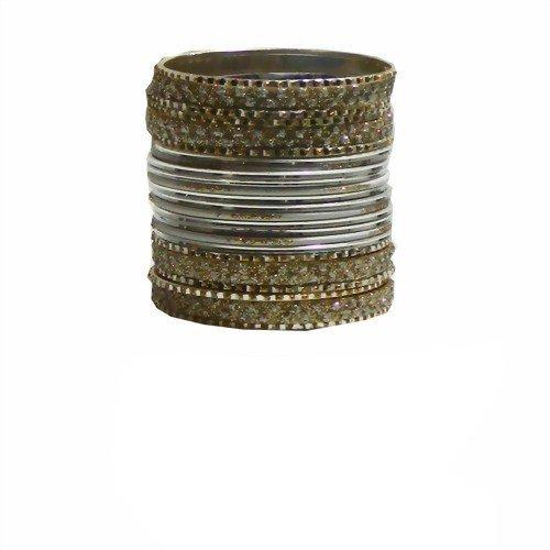 Indische Bangles 24 Armreifen Lovely silber gold 6,5 cm mit Bindis Bollywood Sari Schmuck