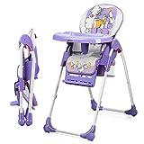 KUANDARYJ Hochstuhl Exclusiv mit Liegefunktion Mit Ablagekorb Babyhochstuhl höhenverstellbar mit abnehmbarem Essbrett | klappbarer Kombihochstuhl, Purple