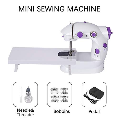 Mini máquina de coser con mesa de extensión, doble rosca ajustable, dos velocidades, máquina de reparación, multifunción, herramienta de coser para el hogar, principiantes
