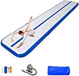 86 York 10ft 13ft 16ft 20ft Inflatable Gymnastics Air Tumble Mat Track Tumbling Mat with Pump for Gym/Home/Yoga/Training/Kids/Sport/Taekwondo/Game (16ftx3.3ftx4in, Blue)