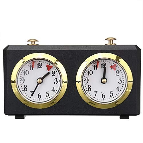 Senyingeurope Reloj de ajedrez de madera, temporizador de conteo hacia arriba, temporizador de competición analógico internacional de torneo, reloj de ajedrez mecánico para juego de mesa