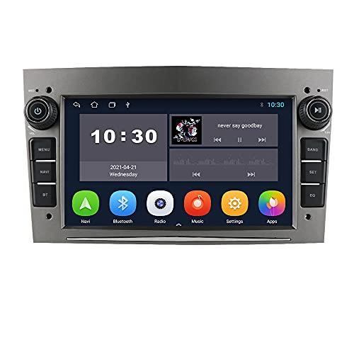Android 10 Autoradio con Bluetooth GPS Navigazione 7 pollici Touch Screen per Opel Antara Vectra Crosa Vivaro Zafira Meriva Supporto Controllo Volante WiFi 4G USB CAM-In DAB + (Grigio)