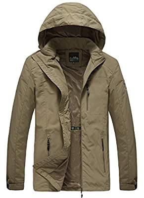 Pinkpum Men's Lightweight Rain Jacket Water Resistant Kaki L from
