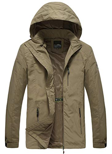 Mens Lightweight Water Resistant Windbreaker Khaki Jacket