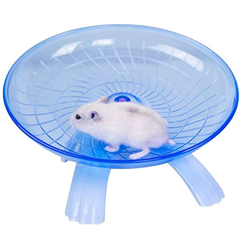 U/D Hámster Flying Saucer Rueda de ejercicio Juguetes Silence Bastante Spinner para Gerbil Rat Chinchillas Cobaya Ardilla Pequeño Animal, Azul