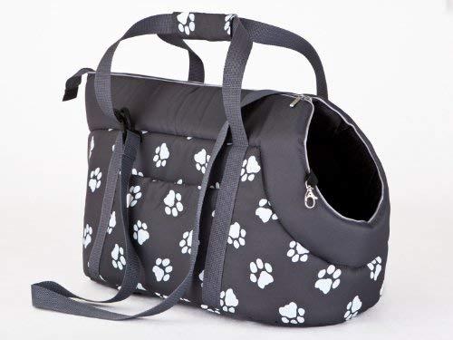 Hobbydog - Bolsa de Transporte para Perros y Gatos, Talla 1, Color Gris con Patas impresión