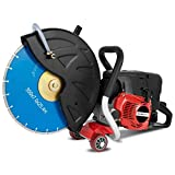 EBERTH 3 kW Scie Circulaire moteur essence thermique pour la coupe à sec et à l'eau (Ø350mm disque, 2 temps, cylindrée 64,6ccm, 9500 tr/min, démarreur à câble, profondeur de coupe max. env. 110mm)