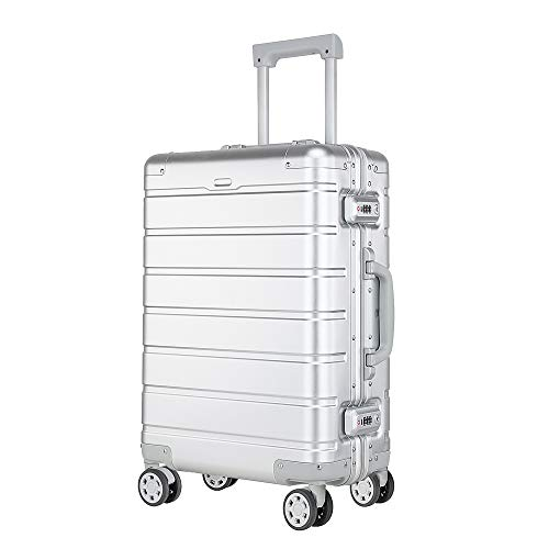 XDJ Life Aluminum Carry On Luggage with Spinner Wheels,Hardshell Suitcase for Travel with Built in TSA Lock-20in,Silver