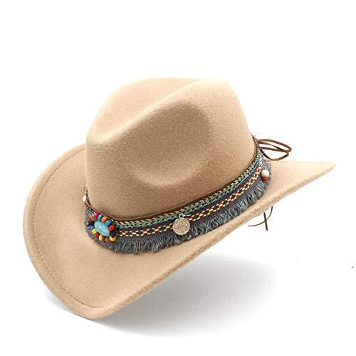 CHENGWJ Cap Fedoras Mannen Mode Vrouwen Wol Holle Westerse Cowboy Tassel Riem Elegante Lady Jazz Cowgirl Jazz Toca Sombrero Cap Top hoed