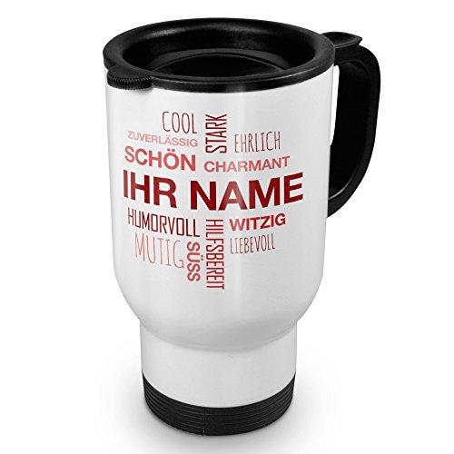 printplanet® Thermobecher weiß mit Namen personalisiert - Motiv Positive Eigenschaften (Modern) Rot individuell gestalten - Coffee to Go Becher,...