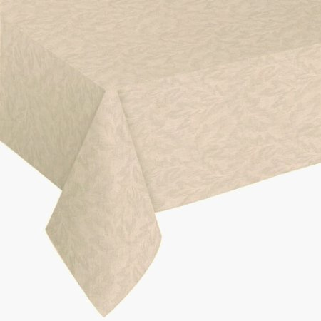 Sonoma Damask Stain Resistant and Spill Proof with Flannel Backing Vinyl Tablecloth for Spring/Summer/Party/Picnic, Vanilla, 52'x90' Oblong/Rectangle