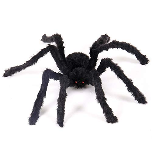 Halloween Giant Spider Decoration, Large Hairy Pose-able Scary Spiders, Outdoor Yard Haunted House Party Decor Supplies 1 Pcs size 125cm/4ft