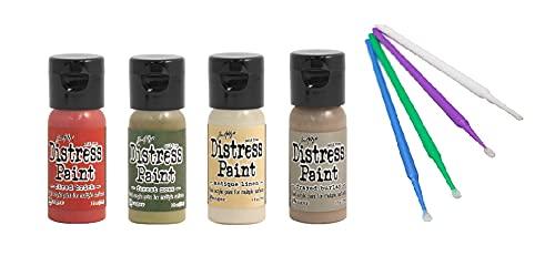 Ranger Tim Holtz Distress Flip-Cap Paint Bundle with PTP Flash Deals Sticks (Brick Path - Fired Brick, Forest Moss, Antique Linen, Frayed Burlap)