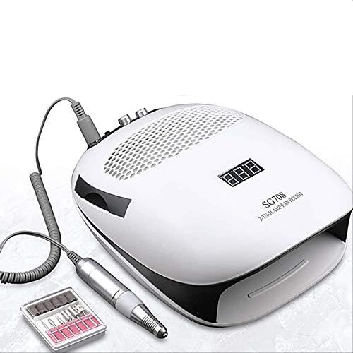 Aspiradora de polvo de uñas y taladro eléctrico de uñas y UV LED lámpara de uñas máquina de manicura para salón de uñas herramienta 140w 3-en-1multifunción 28 * 19.5cm 140W 3-en-1