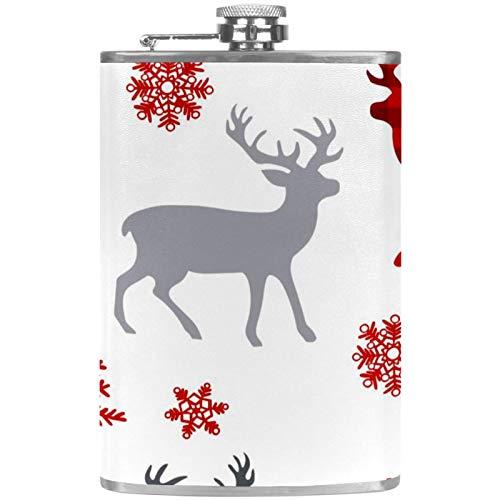 Flachmann mit Trichter, auslaufsicher, Edelstahl, Weiß, Weihnachtsbaum, roter Elch