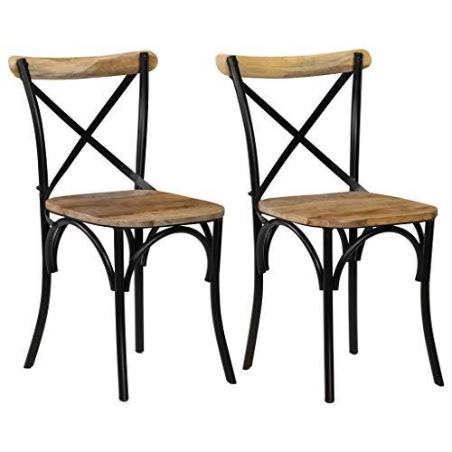 Cikonielf 2 sillas de comedor de madera maciza de mango con motivo de cruz 51 x 52 x 84 cm. Diseño del respaldo abierto y cruzado, totalmente hecho a mano