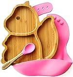 BUABI Vajilla de Bambú y silicona (ARDILLA). Set 3 piezas: Plato, Cuchara y Babero. Con ventosa antideslizante en la base. Bambú natural y silicona grado alimentario, Ecológico sin BPA (Rosa)