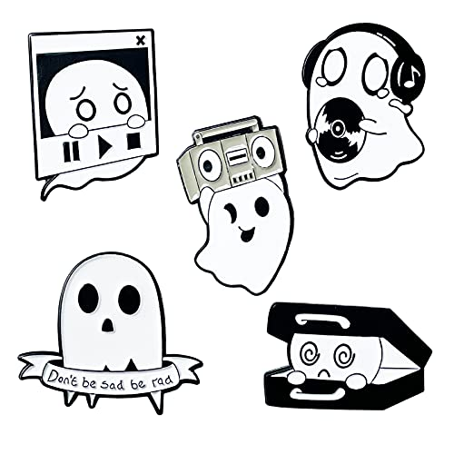 5 Pieces Funny Cute Ghost Enamel Pins Set,Punk Music Ghost Enamel Brooches Lapel Pins Badges Backpack Bags Jackets Decor Gothic Jewelry Gifts for Women Girls Men Boys