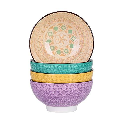 vancasso Tulip Juego de Cuencos 4 piezas Diseño de Mandala Cuencos de Cereales, Tazón Desayuno 600ml Porcelana 4 Colores