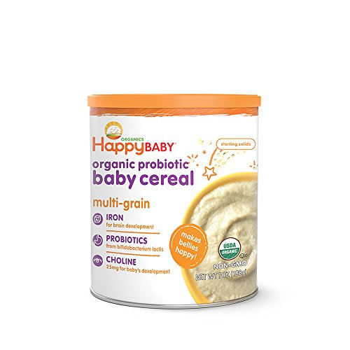 Happy Baby Organic Probiotic Baby Cereal with Choline Multi-Grain, 7 Ounce Canister (Pack of 6) Organic Baby Cereal with Iron & Choline to Support Babys Brain Development, a Great First Food