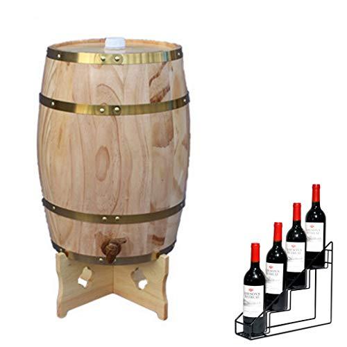 Roble Barril Barril de Whisky 25L Barril de Crianza Vertical de Roble Decorativo para el Hogar con Estante para Vino Adecuado para Almacenar Whisky, Vino, Salsa Picante, Miel