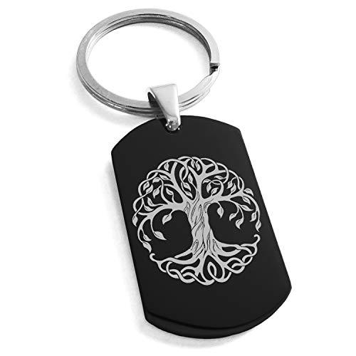 Black Stainless Steel Celtic Knot Tree of Life Symbol Dog Tag Keychain Keyring