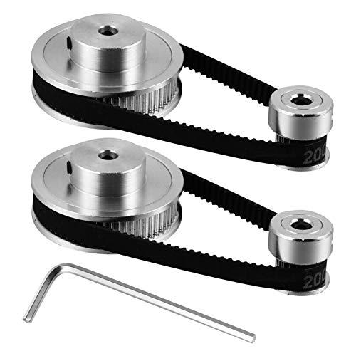 ULTECHNOVO 2Gt Synchronrad 20 Zähne Bohrung Aluminium Zahnscheibe mit 2 Stück Länge 200 Mm Breite 6 Mm Riemen für 3D-Drucker CNC Mechanischen Antrieb (Silber)