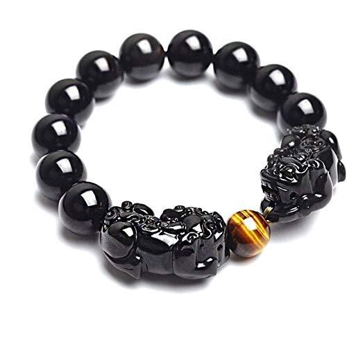 Pulsera Negro Pulsera de Piedra Natural de Obsidiana Ojo de Tigre con y Pulseras Doble Mujeres y Hombres (Length : Black Beads 12mm, Size : Small)