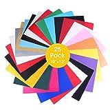 ARTISTORE PU Vinyle de transfert de chaleur, Vinyle de transfert de chaleur X 25 Pcs 16 couleurs, Papier de transfert de textiles pour T-shirt DIY, Cricut, Camée 30x25cm