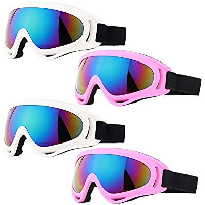 Peicees 4 Pack Winter Ski Goggles with UV400 Protection Adjustable Motorcycle Snow Goggles Tactical Glasses Windproof Sunglasses for Kids Boys Girls (4 Pack-White + Pink Frame/Colorful Lens)