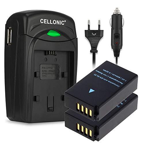 CELLONIC 2X Akku kompatibel mit Blackmagic Pocket Cinema Nikon 1 AW1 1 J1 J2 J3 1 S1 1 V3 Coolpix A P1000 CoolPix P950 DL24-500, EN-EL20 EN-EL20a 800mAh + Ladegerät MH-27 MH-29 Ersatzakku Batterie