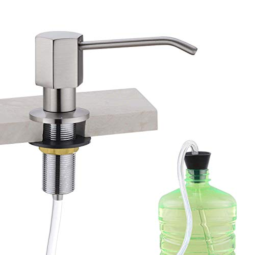 EKRTE Soap Dispenser for Kitchen Sink and Extension Tube Kit, Solid Brass Commercial Soap Dispenser Pump with 47'' Silicone Tube Connects to Soap Bottle Directly, Brushed Nickel Liquid Soap Dispenser