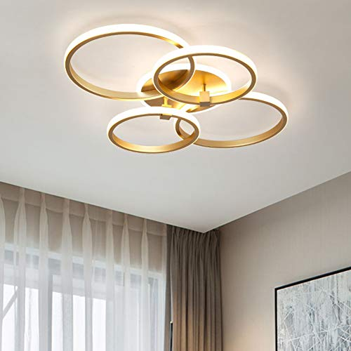LED Deckenleuchte Schlafzimmer Wohnzimmer Dimmbar Deko Decken Lampe Modern Eckig Ring Design Gold mit Fernbedienung Esstisch Esszimmer Küche Pendelleuchte Acryl Schirm Flur Bad Kinder Zimmer Leuchten