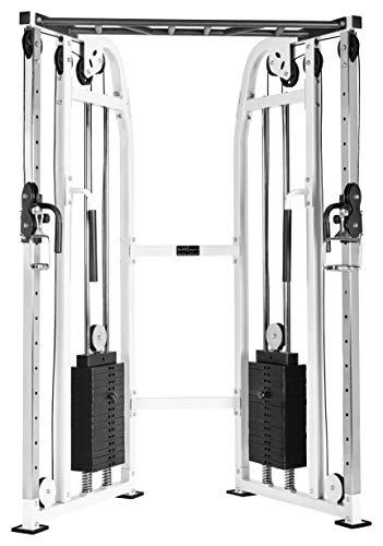 Bad Company Latzug-Turm I Kabelzugstation mit unterschiedlichen Griff-Aufsätzen I Kompakter Cross Over Kabelzug inkl. Klimmzugstange für das Homegym I BCA-25