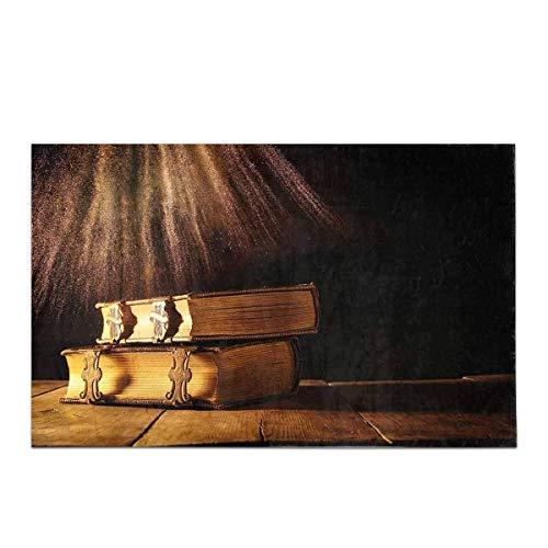 Fantasy Gotico Antico Libri antichi con catenacci in Ottone sul Vecchio Tavolo di Legno Decorazioni per la casa Tappetino da Bagno Antiscivolo Set tappetini assorbenti per Vasca da Bagno Camera da Le