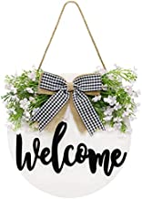 Rmiotte Welcome Wreath Sign for Front Door Decor, Rustic Wooden Home Wreath Wall Decor Hanging Outdoor for Modern Farmhouse Front Porch Decor, Beautiful Gift Box Included