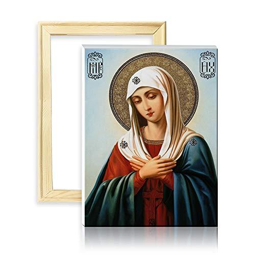 ufengke Kit Pintura de Diamantes 5D Virgen María Punto de Cruz Diamante Completo DIY para Amantes del Arte, con Marco de Madera, Diseño 25x35cm