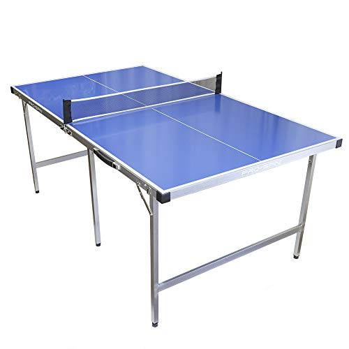 PRO SPIN Mid-Size Ping Pong Table Foldable & 100% Pre-Assembled | Table Tennis Table for Small Spaces | Portable Table with Ping Pong Net for Indoor & Outdoor Games | Waterproof & Weatherproof