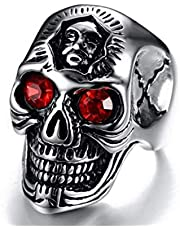 The Unisex skull ring of the Titans is decorated with red eyes