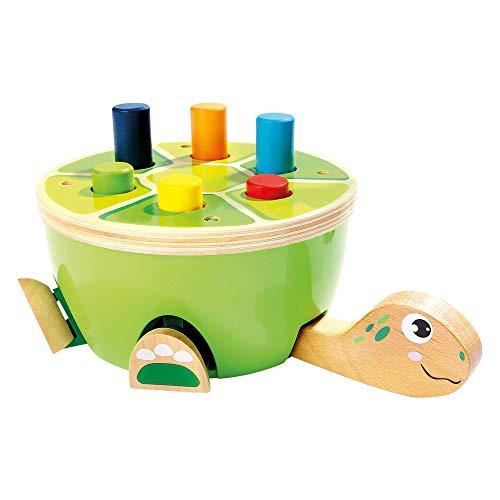 Bino Klopfbank Schildkröte, Spielzeug für Kinder ab 2 Jahre, Kinderspielzeug (Holzspielzeug in Schildkröten-Design, fördert motorische Fähigkeiten & Hand-Augen-Koordination, Hammerspiel), Mehrfarbig