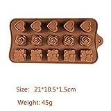 NO BRAND Molde de Barra de Chocolate de Silicona Forma 3D Molde de Pastel de Chocolate Jelly Candy Números de Bricolaje Molde de Fondant Herramientas de decoración para Hornear de Cocina