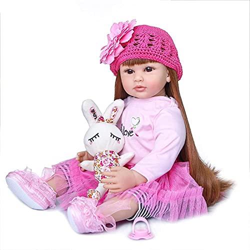 DZCGTP 60Cm Reborn Vinyl Toys Girl Baby Doll Silicona Princesa Niño Bebés Muñecas Regalo de cumpleaños Muñeca de edición Limitada, Ojos Marrones