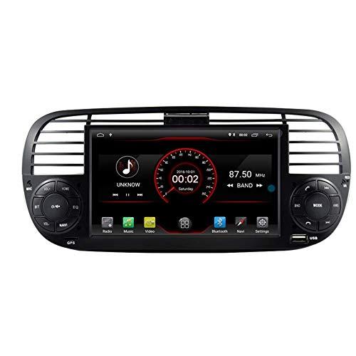KLL Android 10 Reproductor de DVD para Coche GPS estKLLeacute;REO Unidad Principal navegaciKLLoacute;n Radio Multimedia WiFi para Fiat F500 Control del Volante