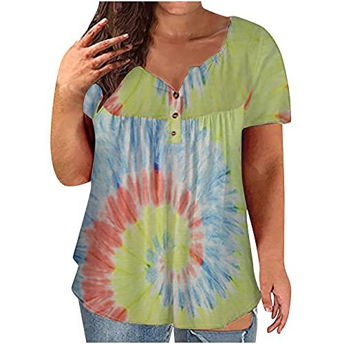 AMhomely Tops de verano para mujer, talla grande, cuello en V, con estampado de tie-dye y botones de manga corta, blusa de talla grande