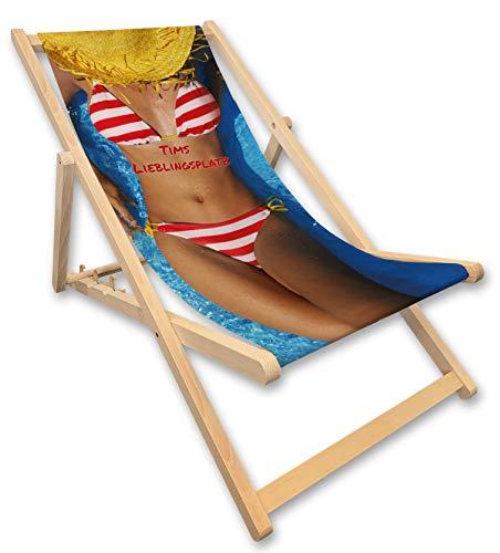 Werbetreff Gera Liegestuhl mit Name, Bikini Girl, Strandstuhl, Geschenkidee Männer witzig, individuell Bedruckt
