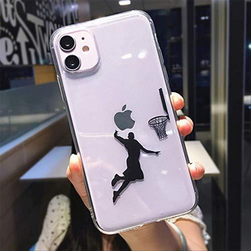 SSICA Lustige Cartoon Basketball Slam Dunk klare Handyhülle für iPhone 12 Pro Max Mini 11 XS X XR 7 8 Plus Junge transparente Softcover für iPhone 11 eine Person