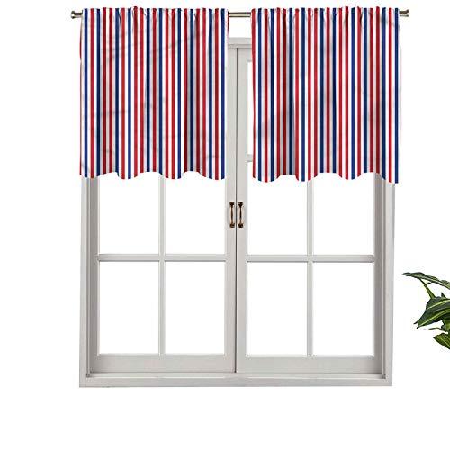 Hiiiman Cenefa de cortina opaca con bolsillo para barra, diseño de independencia simbólica, juego de 2, 106,7 x 60,9 cm, tratamiento para ventana para sala de estar