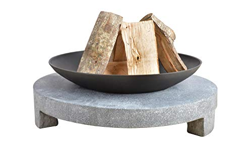 Esschert Design Feuerschale Granito runder Sockel, schwarz, 68x68x23 cm, FF137